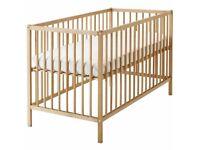 Ikea Beech Sniglar cot with mattress and sheets