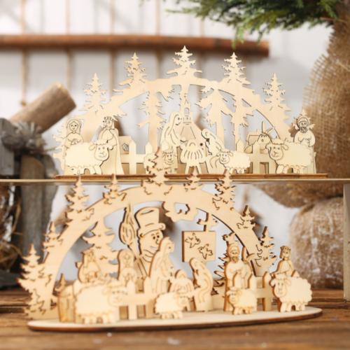 Marry Christmas Wooden Santa Claus Xmas Home Pendant DIY Table Decor Supplies