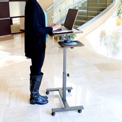 Desk With Wheels Sit Stand Tilt Rolling Adjustable Small Laptop Cart Side Table