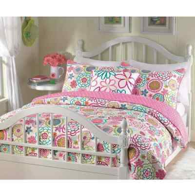 BEAUTIFUL REVERSIBLE PINK WHITE TEAL BLUE GREEN TEEN POLKA DOT GIRLS QUILT SET