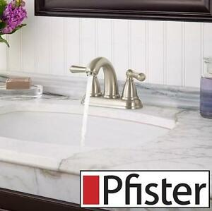 "NEW PFISTER CANTON 4"" BATHROOM FAUCET BRUSHED NICKEL - Canton 4 in. Centerset 2-Handle High-Arc Lavatory Restroom"