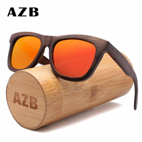AZB Handmade Bamboo Wood Polarized Sunglasses Wooden Frame O
