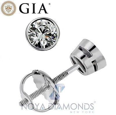 0.89 CARAT D VVS2 GIA CERTIFIED DIAMOND STUD BEZEL SET EARRINGS 14K WHITE GOLD
