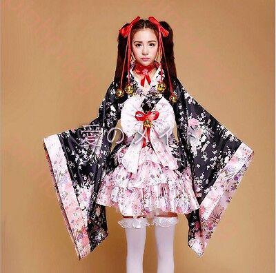 Damen Japanische Costume Kimono Lolita Princess Kirsche Kostüm Anime COSPLAY