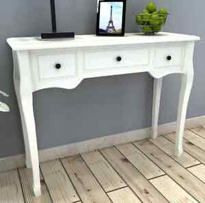 White Console Table Entryway Hallway Hall With 3 Drawers Desk