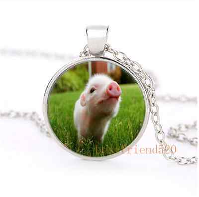 Cute Baby Pig Cabochon Glass Silver Plating Necklace Men Woman Jewelry