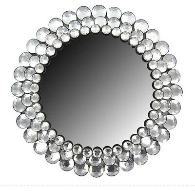 Modern Round Circle Crystal Bling Gemstone Accented Wall Mirror Decor NEW