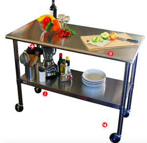 Large Stainless Steel Prep Table with Wheels