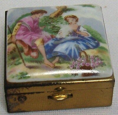 VINTAGE BRASS & PORCELAIN PILL / TRINKET BOX SMALL MULTI COLORED HINGED