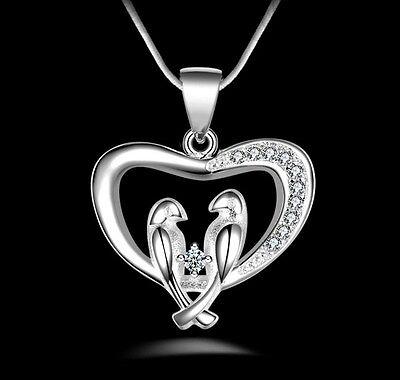 Silver Love Heart Birds Charm Animal CZ Pendant Necklace 18