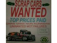 End of life cars, mot failures, non runners, top prices paid