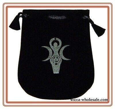 Black Velvet Bag Pouch 5 X 5 Goddess Wicca Talisman Drawstring Tarot