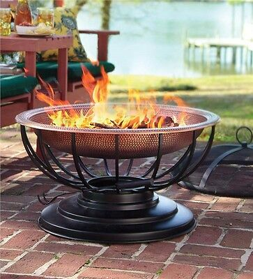 Outdoor Solid Copper Fire Pit With Lid & Poker Round Patio Table Metal Frame NEW