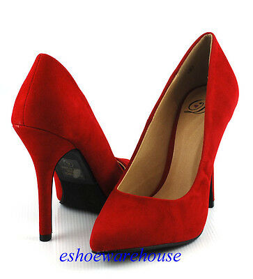 Lipstick Red Faux Suede Sexy Height Pointy Pointed Toe Stilettos Heels Pumps