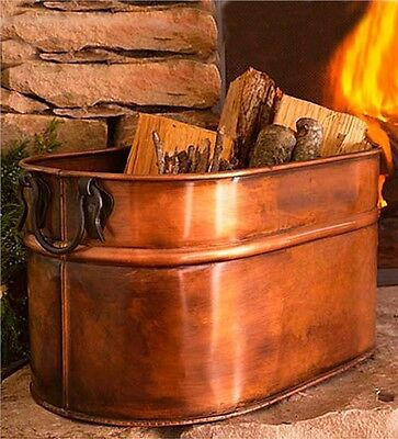 Large Firewood Bucket Bin Fireplace Antique Copper Finish Indoor Log Wood Holder