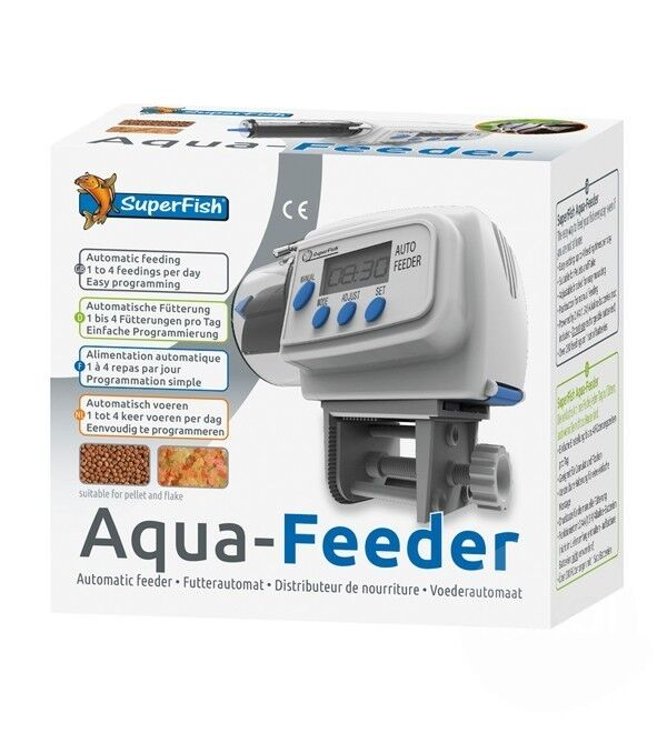 Superfish Aqua Feeder White - Automatic Aquarium Feeder Holiday Fish Food