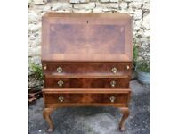 Walnut Bureau/Writing Desk (20th C Edwardian)