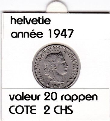 S 1) pieces suisse de 20 rappen de 1947  voir description