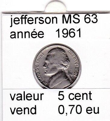 e2 )pieces de 5 cent  1961    jefferson