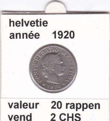 S 1) pieces suisse de 20  rappen de 1920   voir description