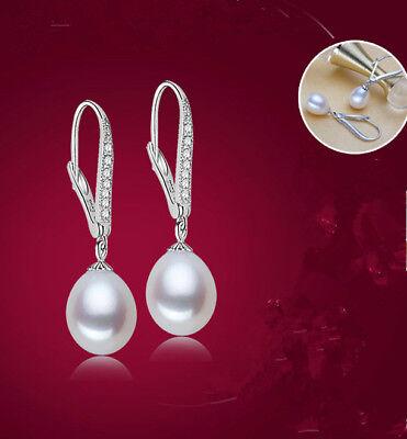 NEU Zucht Süßwasser Perlen Zirkonia 925 SterlingSilber Anhänger Ohrringe Creolen