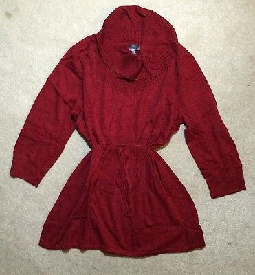 Plus Size Oh Baby Motherhood Red Cotton Cowlneck Tunic Sweater- Size 1X - NEW Plus Size Maternity Sweaters