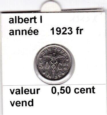 BF 3 )pieces de albert I de 50 cent 1923 belgique