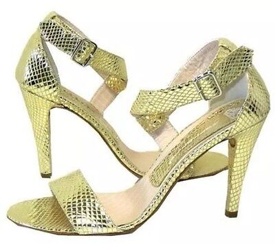 FORNARINA Shoes NEW Size: 11 (41 Euro) Gold Snake Skin Calf Leather Туфли Италия