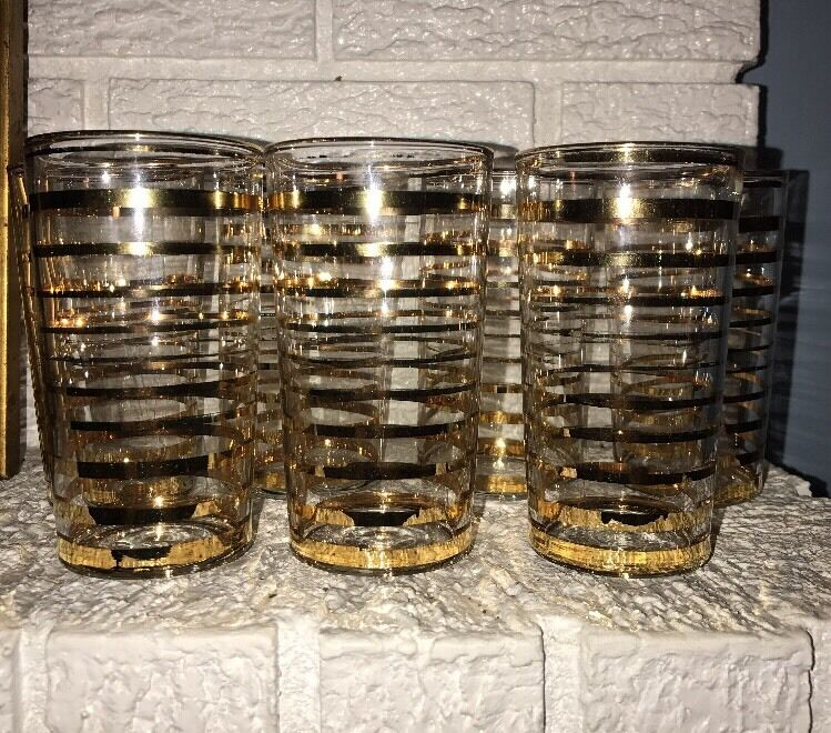 SET OF 7 Vintage Mid Century Gold Striped Tumblers
