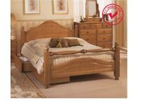 RRP£500 Airsprung Carolina 5ft Kingsize High Footend Cinnamon Wooden Bed Frame with drawers