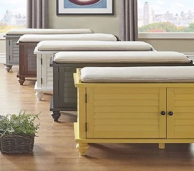 Upholstered Bench Entryway Storage Furniture Seat Hallway Wood Fabric Mudroom
