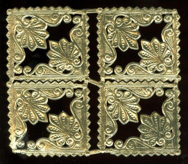 Scrap Die cut German Dresden Gold Foil Paper Decorative Corners Victorian Crafts