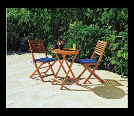 Wooden Bistro Table Set (for garden, patio, balcony, terrace)