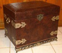 Wood and Leather Treasure Pirate Box Chest Trunk Ottoman Storage