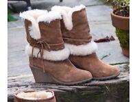 FACTORY SECONDS - Genuine Ladies Sheepskin Boots with Wedge Heel (UK 5,6 or 7) RRP: £120
