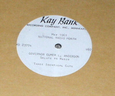 Private Mn Radio  Acetate Lp  Kay Bank Records Governor Elmer Anderson 1961