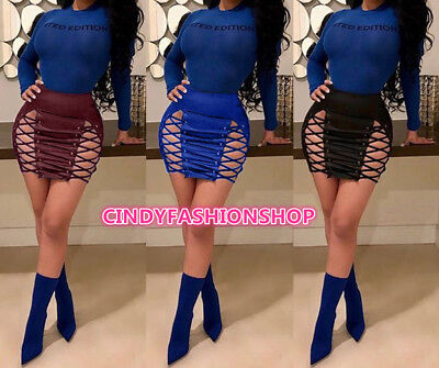 Women Sexy  Lace UP Eyelets Pu Leather Hollow Out Club Party High Waist Skirts