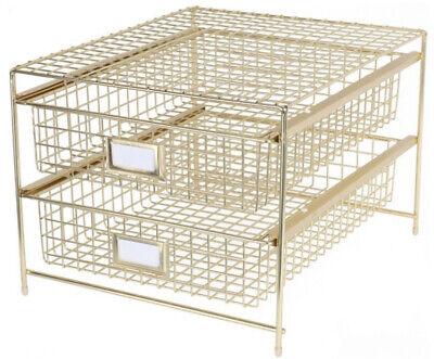 Gold Metal Grid Desktop Storage Drawer Office Paper Organizer Sorter File Desk
