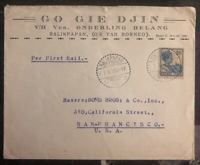 1928 Balikpapan Netherlands Indies Commercial Cover To San Francisco Ca USA