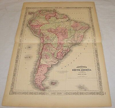 1863 COLOR MAP of SOUTH AMERICA/Large 18x26/Johnson & Ward Map