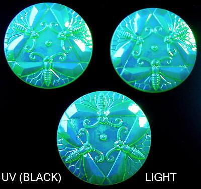 3 Czech UNIQUE Vaseline Glass Buttons #G600 - RARE DRAGONFLIES!!!! - - Iridescent Czech Glass