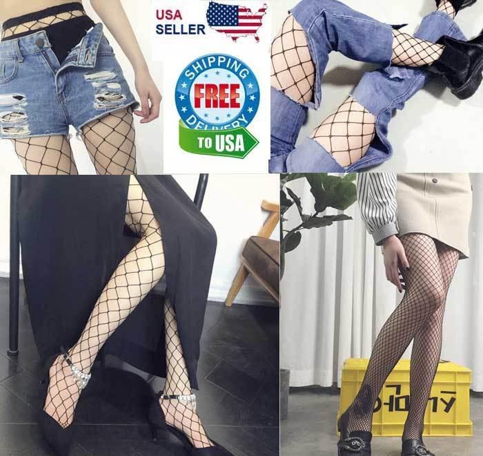 Fishnet Stockings Pantyhose Black Net Pattern Sock Fashion Women Ladies Big Mesh Clothing, Shoes & Accessories