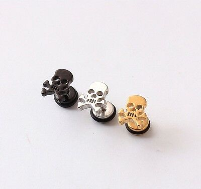 Pirate Earrings For Men (Pirate Skull Silver Black Gold titanium steel Men Screw pierced stud)