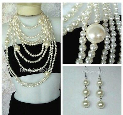 Oversized Pearl Necklace Statement Long Large Chunky Huge Women Fashion Earring - Oversized Necklace