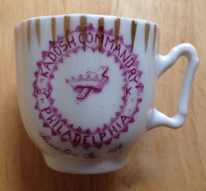 1900s 1910s KADOSH COMMANDERY KNIGHTS TEMPLAR MINIATURE TEA CUP, SCRANTON, PA