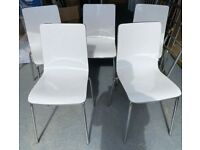 5 White Gloss Orange Backed & Chrome Feet Chairs FREE DELIVERY 4057