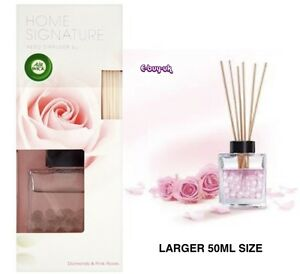 2 x Air Wick Home Signature Reed Diffusers ~ Larger 50ml ~ Diamonds & Pink Roses