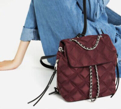 Zara Burgandy Quilted Chain Purse Backpack Bag Brand New With Tags From Spain