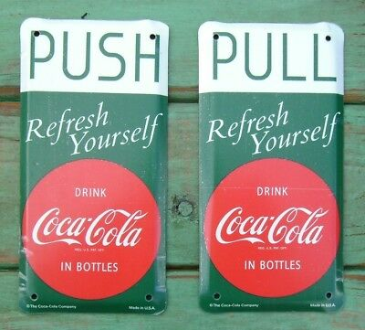 Coca Cola Coke Metal Push / Pull Door Plates Screen Door Set of - Coke Metal