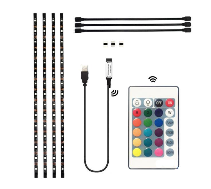 4x 50cm LED USB Backlight TV Hintergrund-Beleuchtung Licht-Band Stripes Streifen